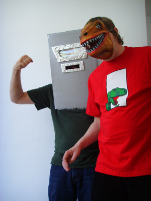 A Giant Robot and A Space Dinosaur, caught unawares