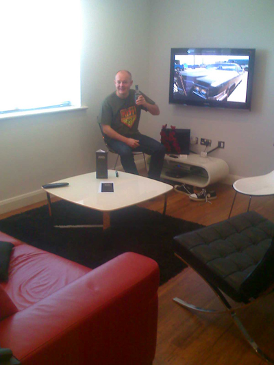 Rob with The Tour Whisky in our swanky pad in Bristol.